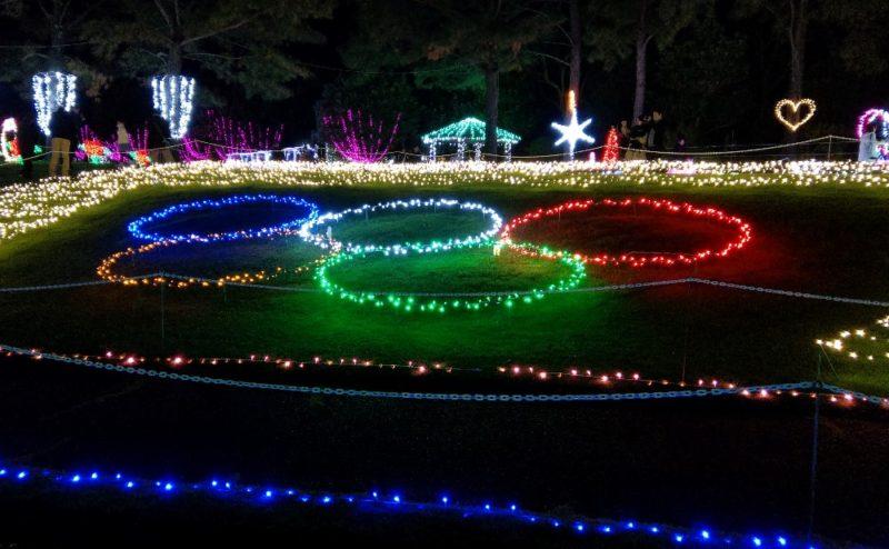 オリンピックマークのイルミネーション